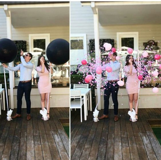 Celebrate with shock and excitement with our Gender Reveal Balloon that pops with pink circle confetti. Each black balloon is non transparent and the ultimate Gender Reveal Balloon Pop that you won't want to miss. Get your cameras ready for our gender reveal balloon with confetti on sale.