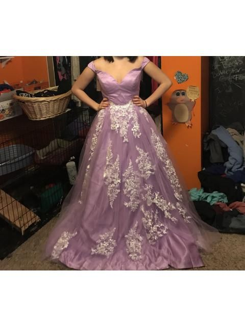 Ball Gown Sleeveless Off The Shoulder Applique Tulle Sweep Brush Train Dresses Prom Dresses Hebeos Online Ball Gowns Gowns Dresses