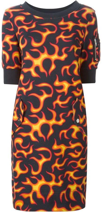 Love Moschino flame print dress