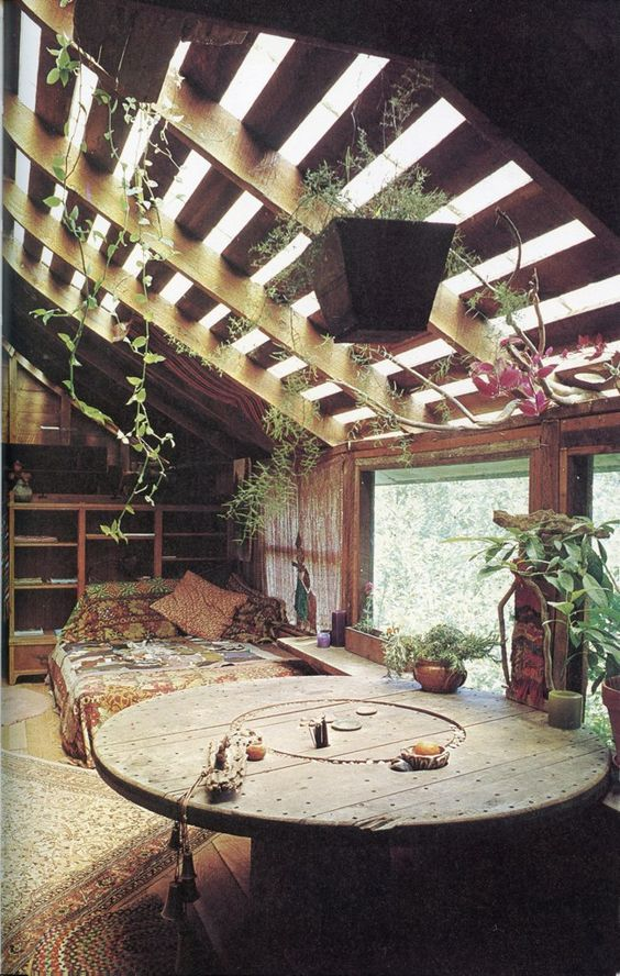 Love this...clear plexiglass or something over beams? imagine it in the rain! peter frazier: tiny house - inside with nature If you like please follow us!