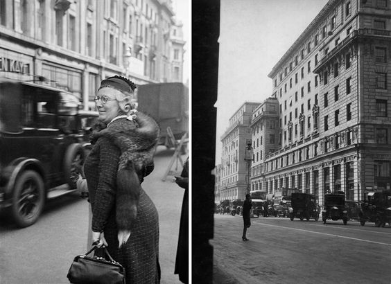 Oxford Street, London, 1934; Devonshire House, Piccadilly, 1928 photos by E.O. Hopp.