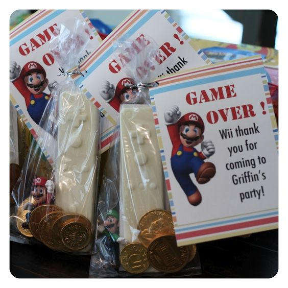 mario party treat bag idea.I have the sticker.Get seal to make the chocolate controls and get chocolate coins.