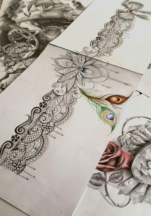 Feathers Mandala Lace Garter Tattoo Design Garter Tattoo Lace Garter Tattoos Lace Tattoo