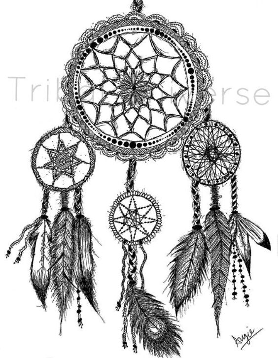 Dreamcatcher - Pen and Ink Drawing on Etsy, $14.00