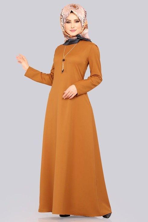 Modaselvim Elbise Kolyeli Mevsimlik Elbise 1001bgs354 Kiremit Pakaian