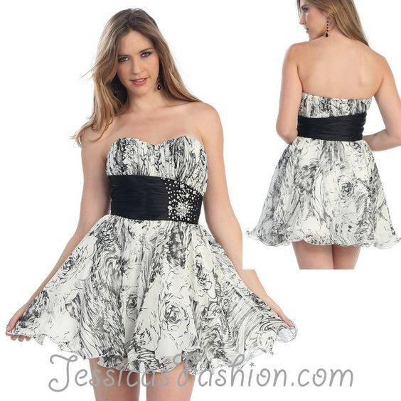 Short Prom dress in color White, Black & more - Beaded style in Chiffon - Plus Size available. - $59.99 - Dress URL: http://www.jessicasfashion.com/Chiffon-print-strapless-short-prom-dress-MQ865.html #prom2013 #promdresses #promdress #dressshopping #whitedress #whitepromdress #chiffondress #chiffondresses #shortpromdress #shortdress #shortdresses #beadeddress #plussizedress: