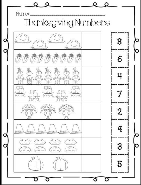 Thanksgiving math worksheets for pre k