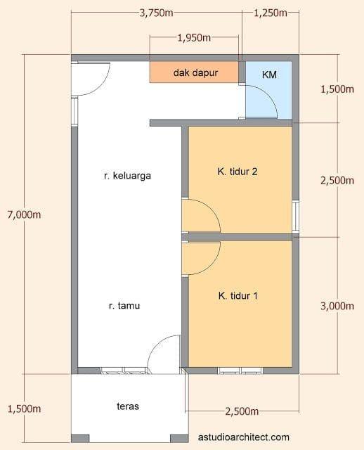 Desain Rumah Sederhana 5 7 Denah Rumah Desain Rumah Minimalis Rumah Minimalis