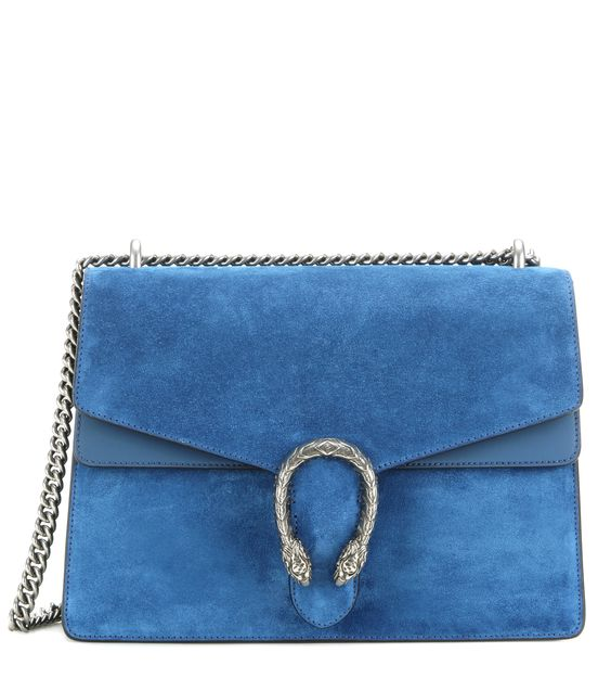 Gucci - Dionysus Medium suede and leather shoulder bag -  Crafted from incredibly soft blue suede and leather, this shoulder bag from Gucci i sure to become a staple in your accessories collection. It solidifies its luxury status with the double tiger head decoration and chain strap in silver-tone metal. Carry it in your hand from the office to a dinner date. - @ www.mytheresa.com