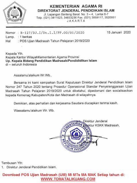 Download Pos Ujian Madrasah Um Mi Mts Ma Mak In 2020