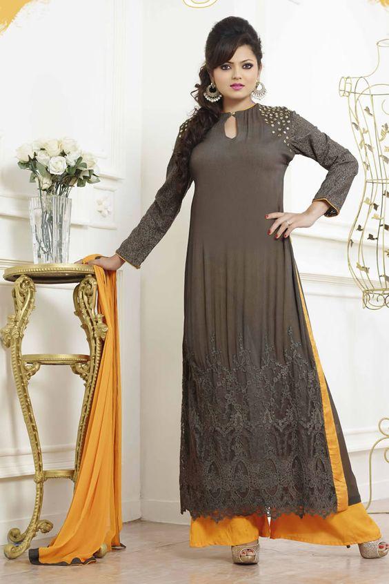 Black Color Drashti Dhami Style Anarkali Salwar Kameez Online From