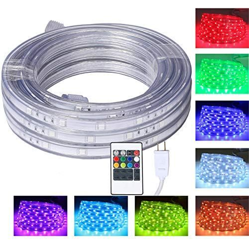 16 4 Feet Flat Flexible Led Rope Lights Color Changing Rgb Strip Light With Remote Control 8 Colors Multiple Modes Plug In Novelty Light Connectable And Wat Led Rope Lights Strip Lighting Led Rope