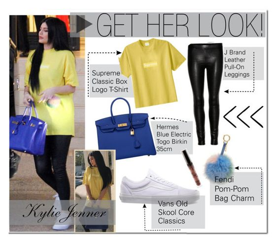 """""""Kylie Jenner : Yellow T-Shirt, Leather Leggings"""" by x-pastelkitty-x ❤ liked on Polyvore featuring Hermès and Vans"""