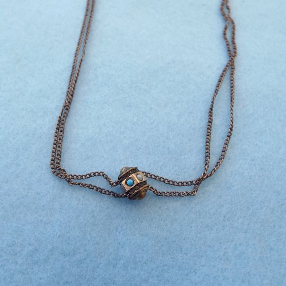 Antique Rose Gold Filled Watch chain Necklace, Gold Slide!