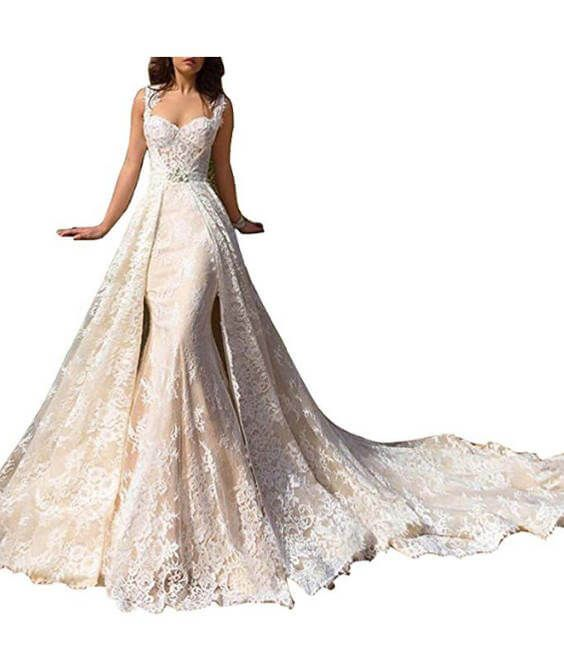 15 Detachable Train Wedding Dresses Under 200 Dollars For Brides Who Want A Removable Train Chiclypoised Detachable Train Wedding Dress Column Wedding Dress Beach Bridal Dresses