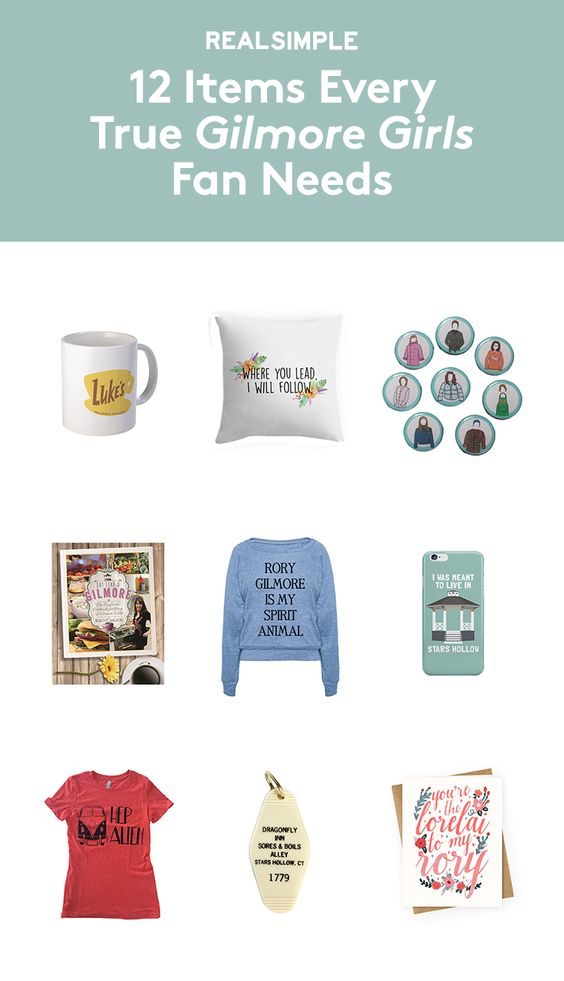 12 Items Every True Gilmore Girls Fan Needs   Before you return to Stars Hollow on November 25, stock up on these shirts, prints, mugs, and more—all made for Gilmore Girls devotees. Oy with the merch already!