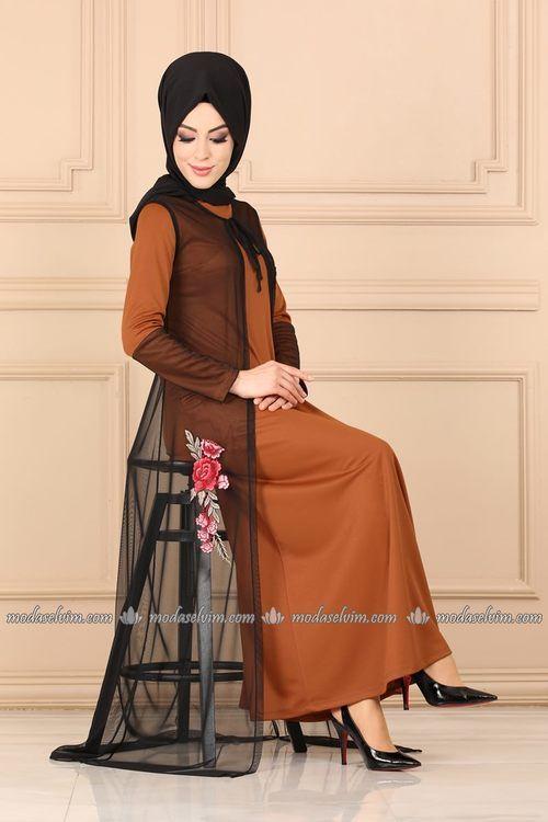 Modaselvim Elbise Tul Yelekli Elbise 3022pm271 Taba Moda Stilleri Elbise Moda