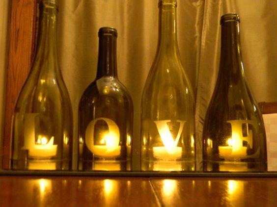 AMOUR pièce maîtresse de bouteille de vin ou un par CabernetLights