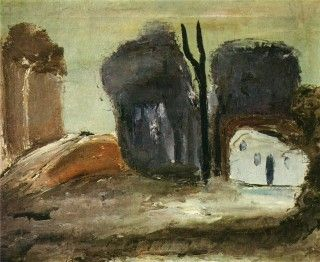 Александр Древин Пейзаж с белым домом. 1931