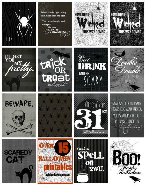 Free Printables: Over 15 Halloween Printables at a girl and a glue gun: