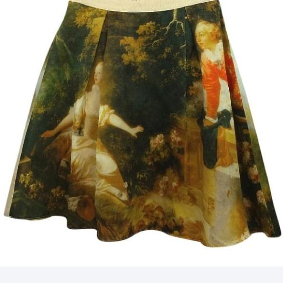 "D & G Dolce & Gabbana Silk Skirt M D and G Dolce and Gabbana Renaissance Print Pleated Silk Skirt M  This silk-organza skirt with multicolored Renaissance print has a wide tonal grosgrain waistband, pleated detail, exposed back zip fastening and is fully lined. 100% silk. Dry clean. 100% silk.  Made in Italy.  Waist across 12.5""  Length 20""  Size tag is Junior. Pls. refer to the waist measurement. Dolce & Gabbana Skirts"