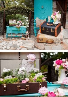 replica vintage suitcase centerpiece - Google Search | Happily ...
