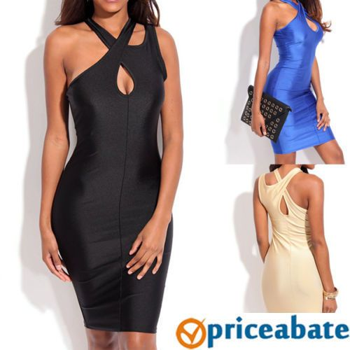 Priceabate Keyholes Crossover Neck Bodycon Dress #Unbranded #StretchBodycon #Cocktail