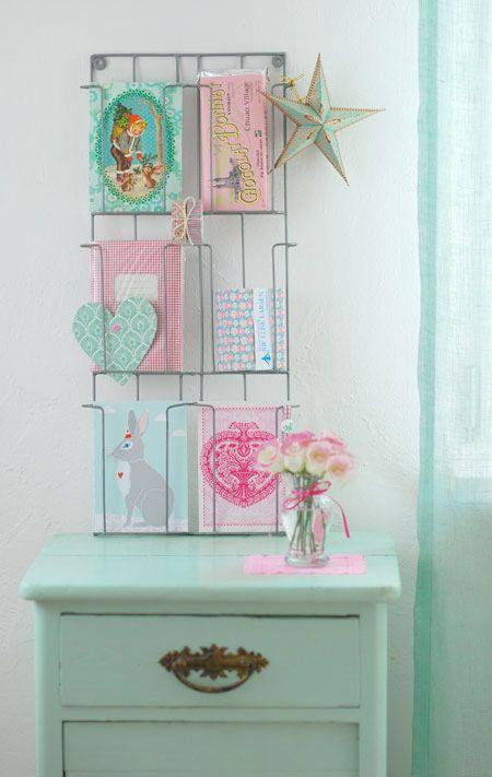 Vintage card holder diplay  Girly decor  Pinterest  Pastel, Colour