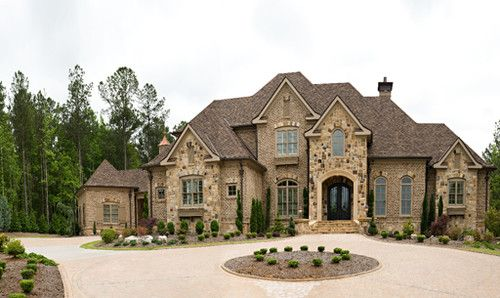 Beautiful front yards and pictures on pinterest for Beautiful brick and stone homes