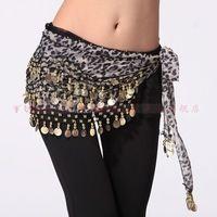 Gypsy falda trajes de danza del vientre cintura estampado de leopardo de la cadena india vestido de gasa bufanda de la cadera tribal 128 cinturón de monedas dorado