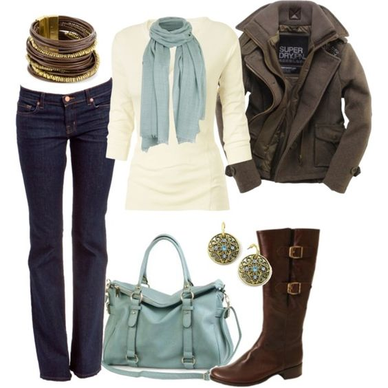 Soft shades of blue and gray...great outfit for chilly weather
