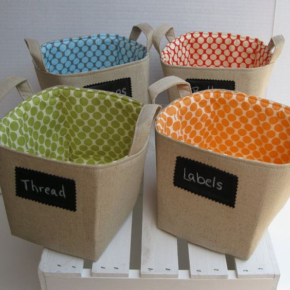 Set of 4 - Linen with Chalk Cloth Fabric - Fabric Basket Organizer Storage Bin Containers on Etsy, $75.00