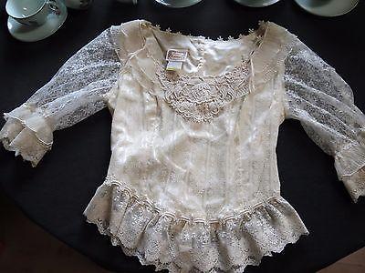 Gunne Sax Junior Size 11 Blouse Top Lace Jessica's Cream Boho Button Back | eBay