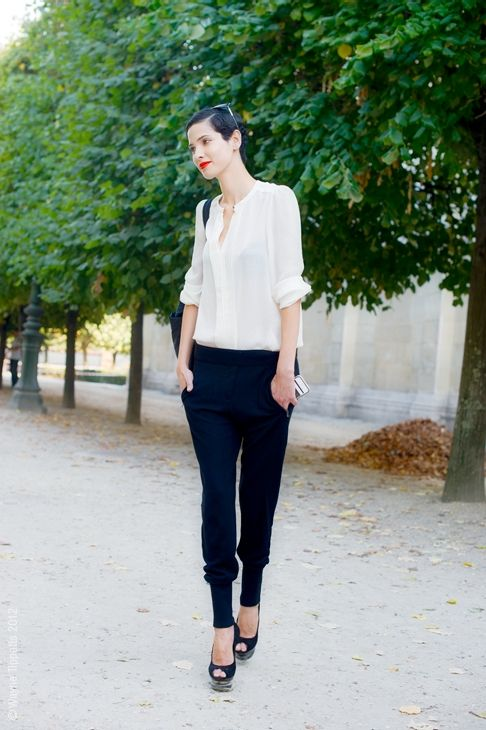 slouchy pant, classic blouse