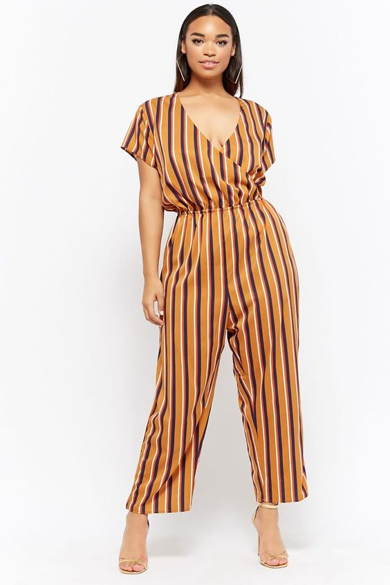 Plus Size Striped Surplice Jumpsuit | Forever 21