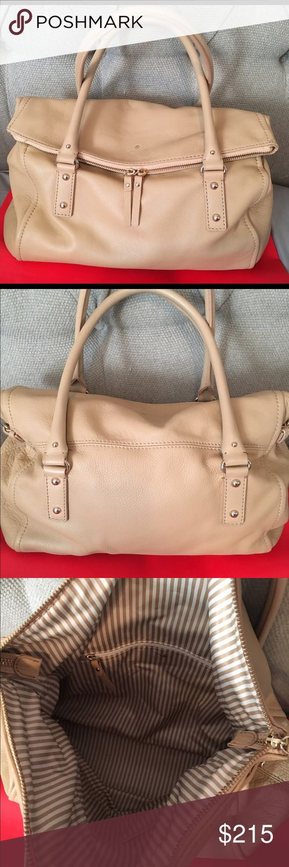 Kate Spade Cobble Hill Leslie Large Bag Beautiful Kate Spade Cobble Hill Leslie bag. Beige color to go with everything. It is the large size so it fits a ton. Has large zipper pocket that has a small zip pocket inside as well as two pockets. Also has a smaller pocket in front that the large section goes over when shut. Great for travel! In fantastic condition! kate spade Bags Shoulder Bags
