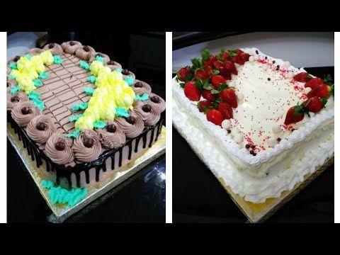 تزيين الكيك اسهل تورتة ممكن تعمليها تورتة للمبتدئين واحدة فانيليا واحدة شيكولاتة Youtube Desserts Food Cake