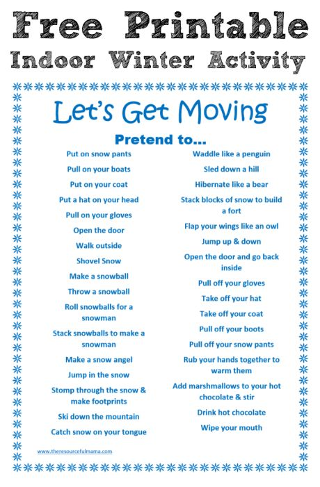 Gross motor free printable and winter activities on pinterest for Winter themed gross motor activities
