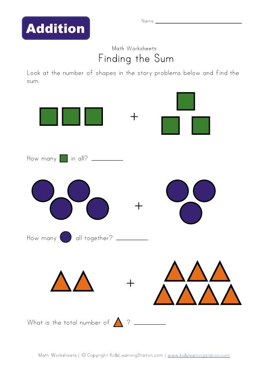 Addition Worksheets : addition worksheets with visual aids ~ Free ...