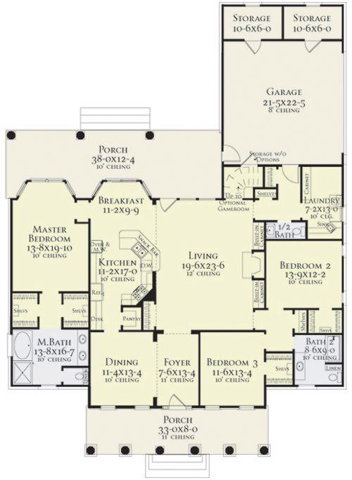 ♥ ✞ ♥ † Coleridge House Plan * First Floor: 2379 Sq. Ft