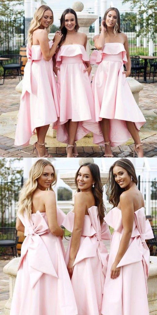Schone Brautjungfernkleider Rosa Kurz Kleider Fur Brautjungfern Modellnummer Xy919 Wedding Dresses Dresses Bridesmaid