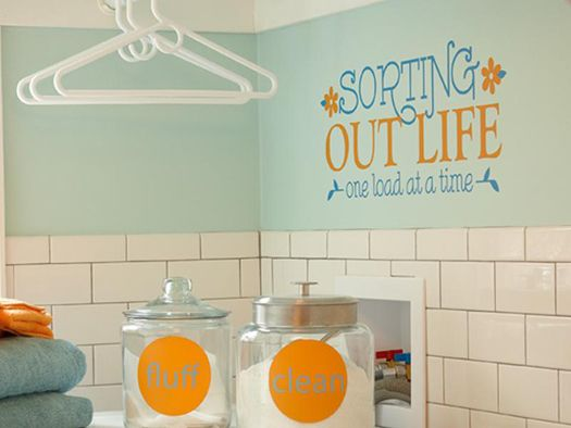 laundry: Laundry Quote, Wall Color, Wall Decals, Cute Quotes, Subway Tile, Laundry Rooms, Wall Quotes, Laundry Room Quotes