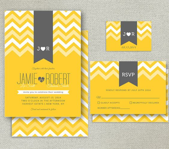 Modern Printable Wedding Invitation Set - Invitation, RSVP and Monogram - CHEVRON & RIBBONS collection - yellow and grey on Etsy, $35.00