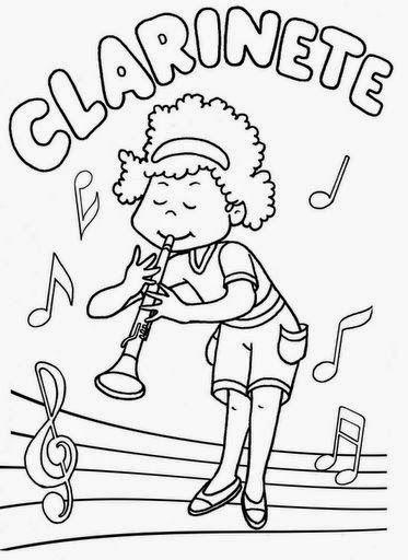 Dibujos Para Colorear Maestra De Infantil Y Primaria Instrumentos De Viento Para Colorear Musica Para Ninos Instrumentos De Viento Fichas De Musica