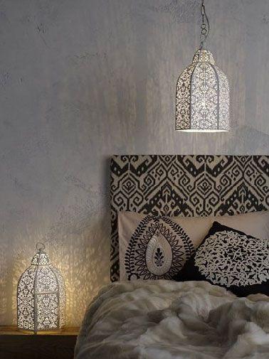 T te de lit style marocaine tissu oriental noir et beige - Tete de lit style marocain ...