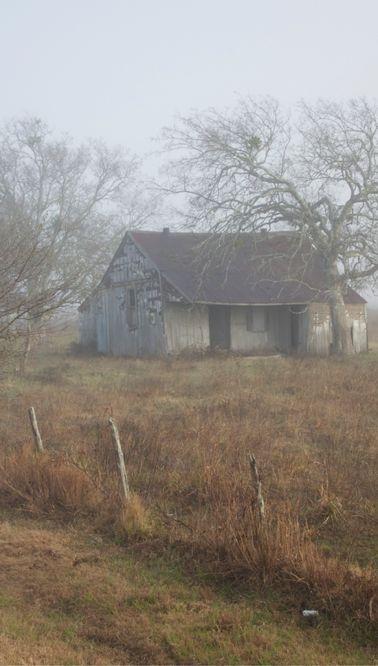 Foggy Day On Old Farm House: