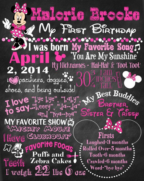Minnie Mouse Theme Birthday Poster by sweetharvestonline on Etsy