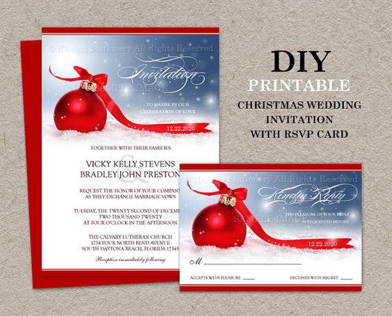 DIY Printable Christmas Wedding Invitations With RSVP Cards – Wedding Invitations with Rsvp Cards