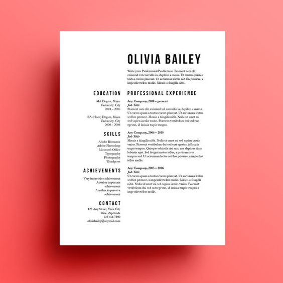 Resume Template, Cover Letter, Instant Download