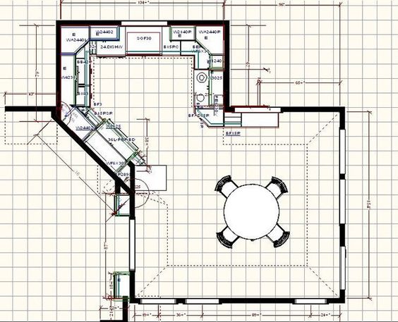 Kitchen floor plan with dining area I think the diagonal wall in